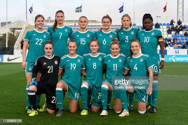 The Germany team line up for a photo prior to kick off during the 14 Nations Tournament match between U19 Women's Germany and U19 Women's Norway on...