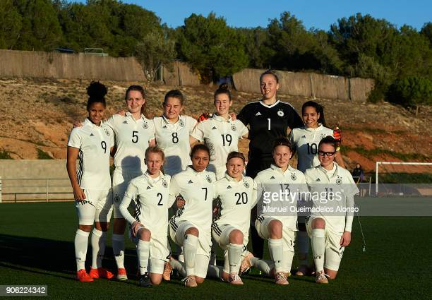 The Germany team line up for a photo prior to kick off during the international friendly match between U17 Girl's Germany and U17 Girl's England at...