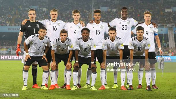 The Germany team line up for a picture during the FIFA U17 World Cup India 2017 Quarter Final match between Germany and Brazil at Vivekananda Yuba...