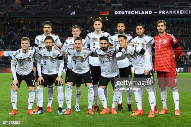 The Germany team line up prior to the international friendly match between Germany and France at RheinEnergieStadion on November 14 2017 in Cologne...