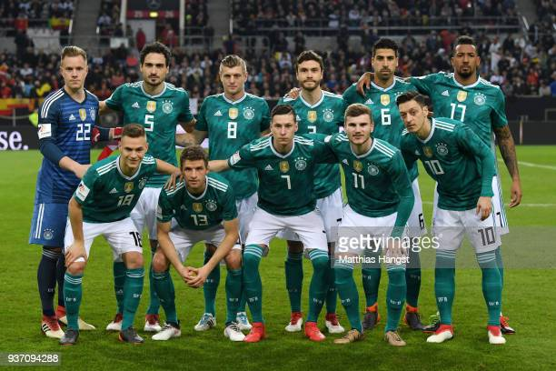 The Germany team line up prior to the International friendly match between Germany and Spain at EspritArena on March 23 2018 in Duesseldorf Germany