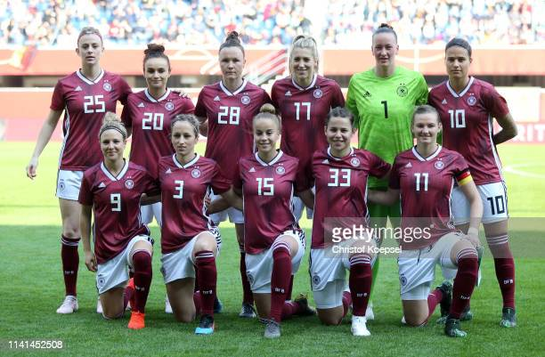 The Germany team line up prior to the Women's International Friendly between Germany and Japan at Benteler Arena on April 09 2019 in Paderborn Germany