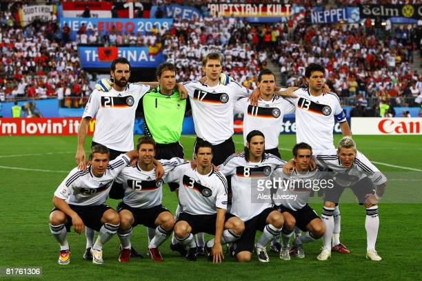 The Germany team pose during the UEFA EURO 2008 Final match between Germany and Spain at Ernst Happel Stadion on June 29 2008 in Vienna Austria