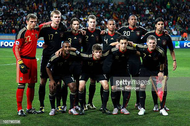The Germany team pose for a group photo prior to the 2010 FIFA World Cup South Africa Third Place Playoff match between Uruguay and Germany at The...