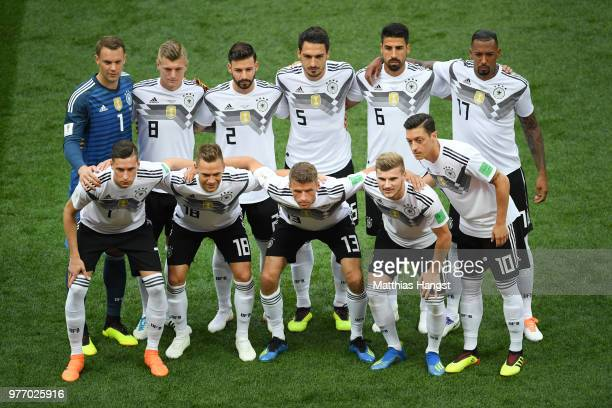 The Germany team pose for a team photo prior to the 2018 FIFA World Cup Russia group F match between Germany and Mexico at Luzhniki Stadium on June...