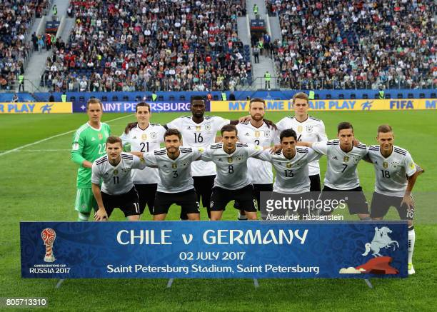 The Germany team pose for a team photo prior to the FIFA Confederations Cup Russia 2017 Final between Chile and Germany at Saint Petersburg Stadium...