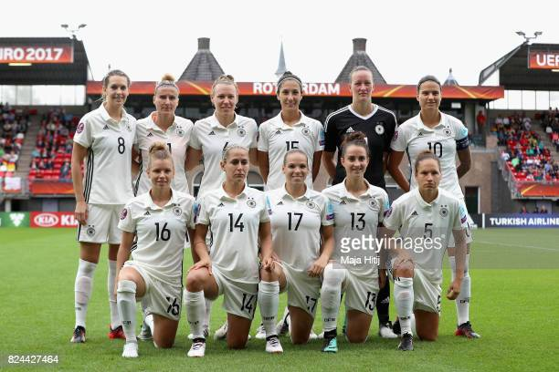 The Germany team pose for a team photo prior to the UEFA Women's Euro 2017 Quarter Final match between Germany and Denmark at Sparta Stadion on July...