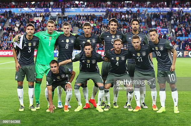 The Germany team pose prior to the 2018 FIFA World Cup Qualifier Group C match between Norway and Germany at Ullevaal Stadium on September 4 2016 in...