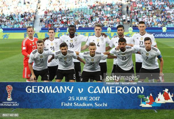 The Germany team pose prior to the FIFA Confederations Cup Russia 2017 Group B match between Germany and Cameroon at Fisht Olympic Stadium on June 25...