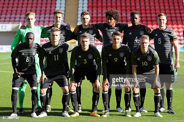 The Germany team pose prior to the Under 20s Four Nations Tournament match between Germany and the United States at Leigh Sports Village Stadium on...