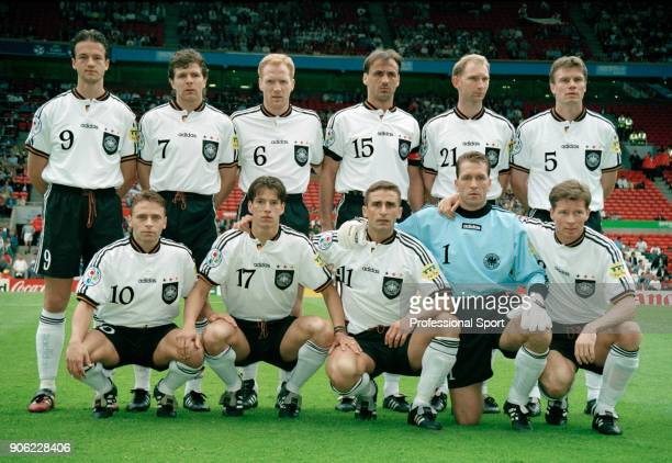 The Germany team prior to the start of the UEFA Euro96 Group C football match at Old Trafford in Manchester on 9th June 1996 Germany won 20 Left to...