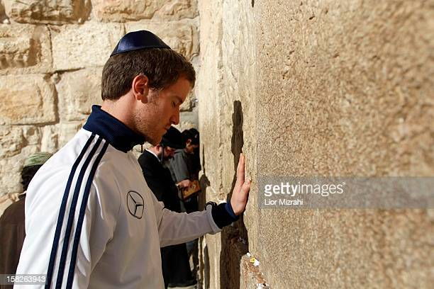 The Germany U18 squad during their visit to the Western Wall Judaism's holiest prayer site on December 12 2012 in Jerusalem Israel
