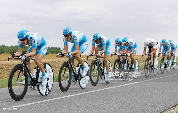 The Gerolsteiner team rides during the Stage 4 team time trial in the 92nd Tour de France between Tours and Blois July 5 2005 in France