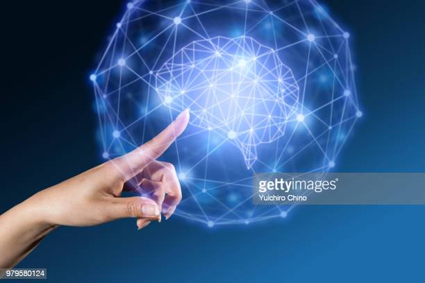 the gesture interface technology of human brain - hud graphical user interface stock photos and pictures
