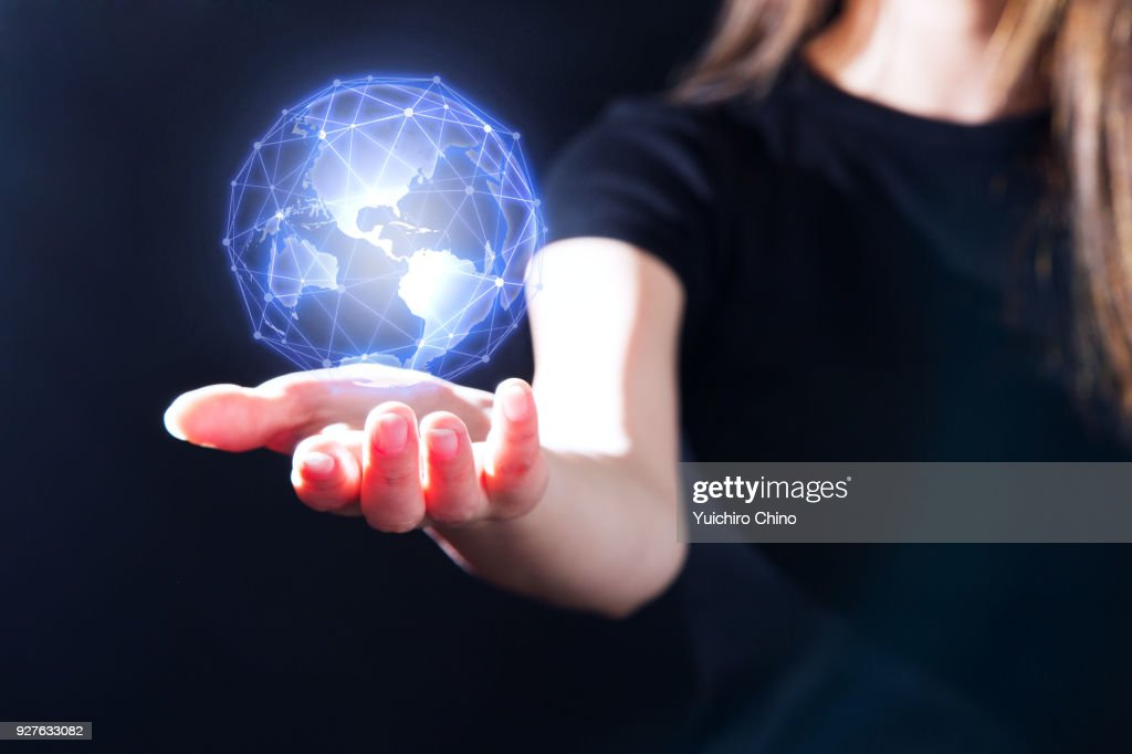 The gesture interface technology with earth and network line : Stock Photo