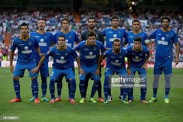 The Getafe CF starting line up prior to start the La Liga match between Real Madrid CF and Getafe CF at Estadio Santiago Bernabeu on September 22...