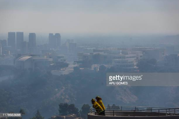 The Getty Center Museum is seen on the background as the Getty fire burns in the Brentwood area California on October 28 2019 A wildfire broke out...