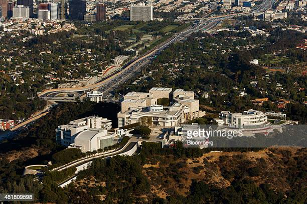 The Getty Center Museum stands as cars sit in rush hour traffic on the 405 Freeway at the Sepulveda pass in this aerial photograph taken over Los...