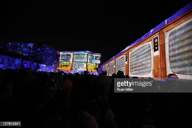 """The Getty's classic curves are bathed in light for """"The Moment"""" during the Pacific Standard Time: Art in LA 1945-1980 opening event held at the Getty..."""