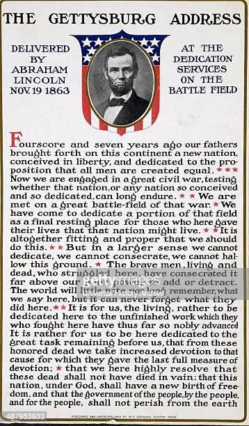 The Gettysburg address delivered by Abraham Lincoln Nov 19 1863 at the dedication services on the battle field Published in 1909 shows a bust...