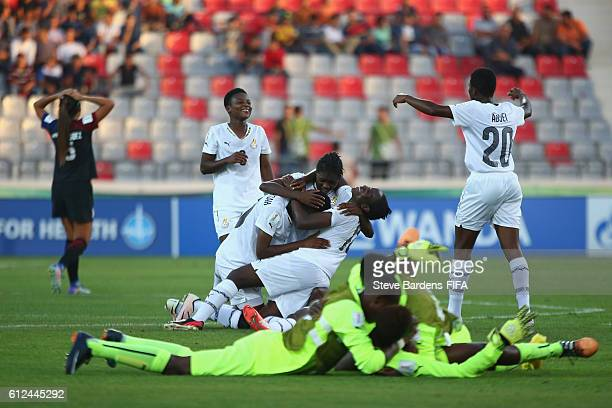 The Ghana players celebrate after their victory over the USA during the FIFA U17 Women's World Cup Jordan 2016 Group D match between USA and Ghana at...