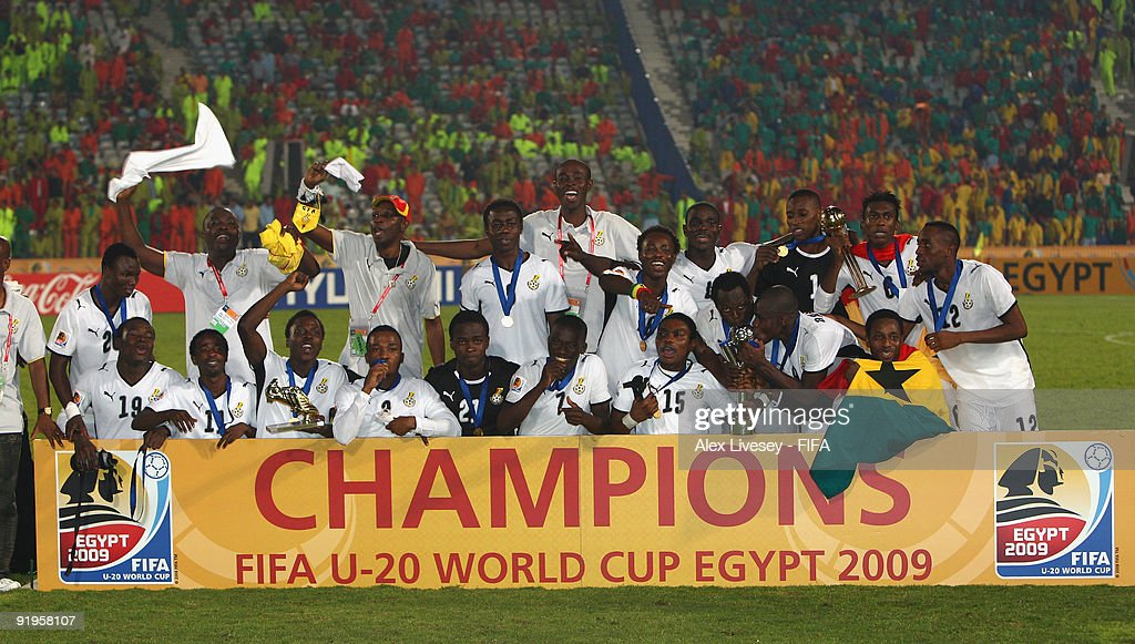 The Ghana players celebrate after victory over Brazil in the FIFA U20 World Cup Final between Ghana and Brazil at the Cairo International Stadium on October 16, 2009 in Cairo, Egypt.
