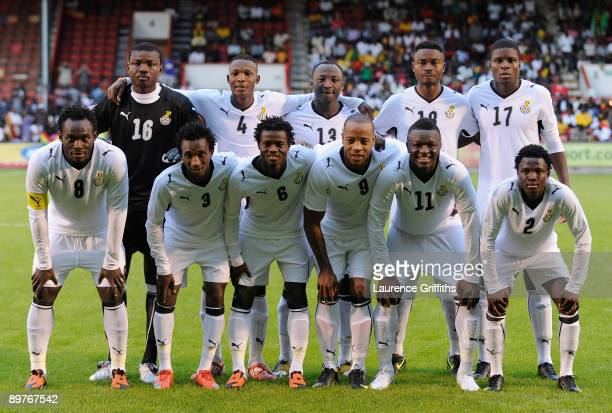 The Ghana Team line up before the International Friendly match between Ghana and Zambia at Brisbane Road on August 12 2009 in London England