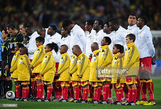 The Ghana team lines up for the national anthems prior to the 2010 FIFA World Cup South Africa Quarter Final match between Uruguay and Ghana at the...