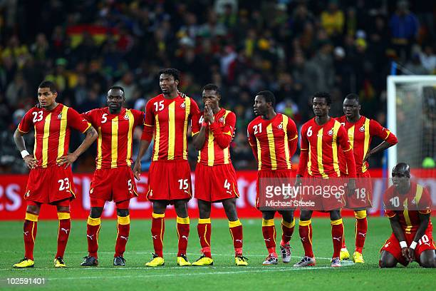 The Ghana team look on dejected during a penalty shoot out during the 2010 FIFA World Cup South Africa Quarter Final match between Uruguay and Ghana...
