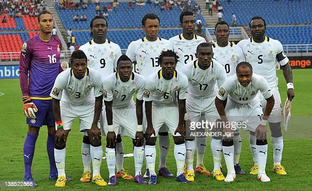The Ghanian national football team Front row LR Asamoah Gyan Samuel Inkoom Anthony Annan Lee Addy Andre Ayew Back row LR Larsen Kwarasey Adambathia...