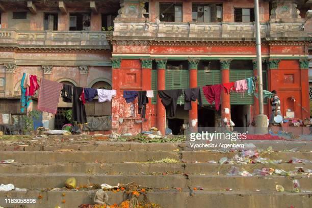 the ghats of the hooghly river in kolkata (calcutta) - argenberg - fotografias e filmes do acervo