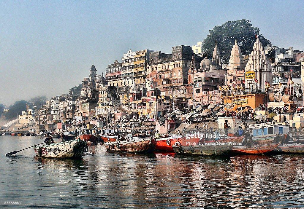 The Ghats of Varanasi by the Ganga River in Uttar Pradesh, India : Stock Photo