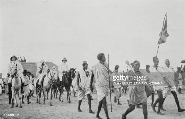 The Gheledi Sultan entering Mogadishu to visit the governor Giacomo de Martino Somalia from L'Illustrazione Italiana Year XXXVII No 26 June 26 1910