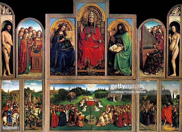 The Ghent Altarpiece Open dated 1430 Created by Jan van Eyck early Flemish polyptych panel painting Dated 15th century