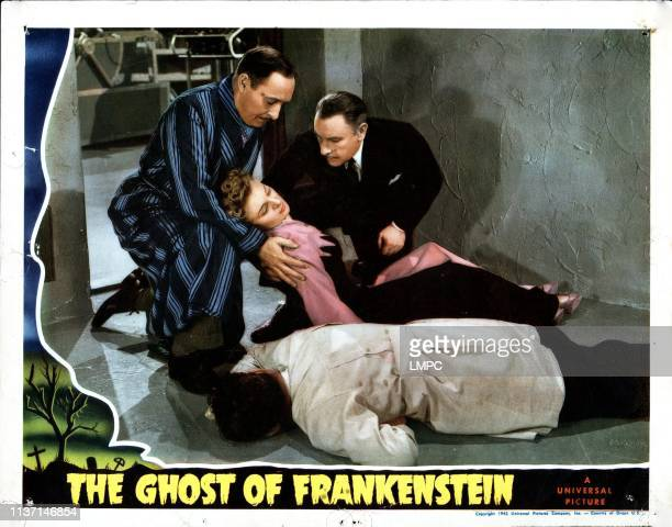The Ghost Of Frankenstein lobbycard from left Cedric Hardwicke Evelyn Ankers Lionel Atwill 1942