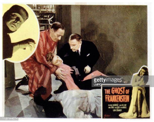 The Ghost Of Frankenstein lobbycard from left Lon Chaney Jr Cedric Hardwicke Evelyn Ankers Lionel Atwill Evelyn Ankers on 1950s