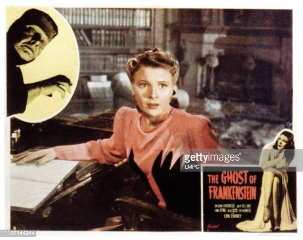 The Ghost Of Frankenstein lobbycard from left Lon Chaney Jr Evelyn Ankers on 1950s