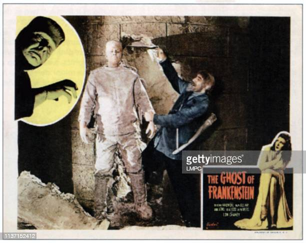 The Ghost Of Frankenstein lobbycard from left Lon Chaney Jr Lon Chaney Jr Bela Lugosi Evelyn Ankers on 1950s