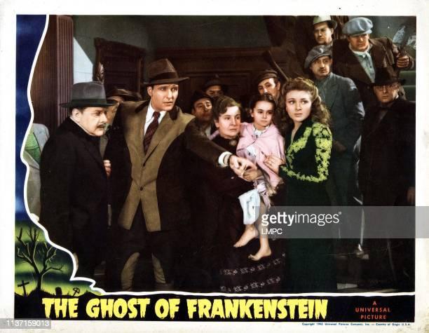 The Ghost Of Frankenstein lobbycard from left Olaf Hytten Ralph Bellamy Doris Lloyd Janet Ann Gallow Evelyn Ankers 1942