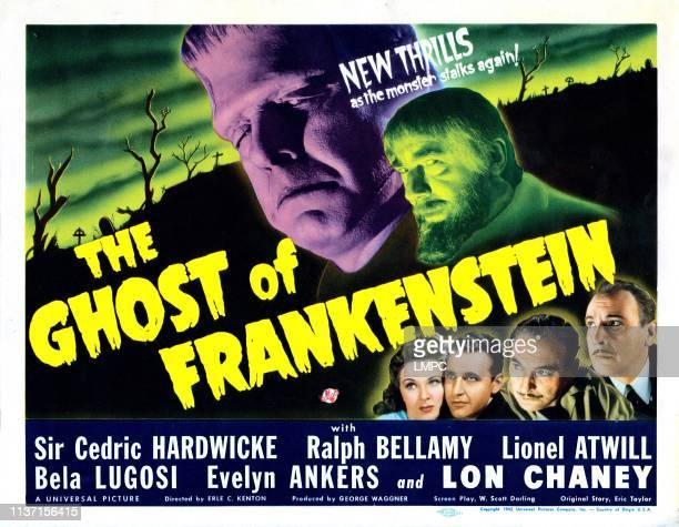 The Ghost Of Frankenstein lobbycard top from left Lon Chaney Jr Bela Lugosi bottom from left Evelyn Ankers Ralph Bellamy Cedric Hardwicke Lionel...
