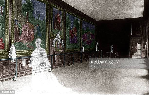 The ghost of queen Catherine Howard 5th wife of king HenryVIII in Hampton Court palace, she was beheaded on HenriVIII's order, engraving, colorized...