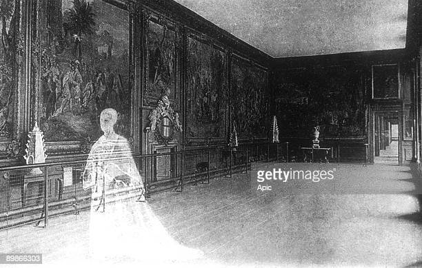The ghost of queen Catherine Howard 5th wife of king HenryVIII in Hampton Court palace, he was beheaded on HenriVIII's order, engraving
