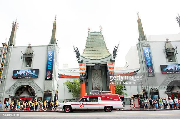 The Ghostbusters company car Ecto1 is seen driving through Hollywood during Lyft Ghost Mode In Partnership With Sony And 'Ghostbusters' in Hollywood...