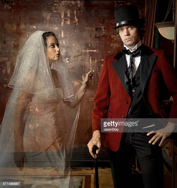 the ghostly bride - smoking jacket stock photos and pictures