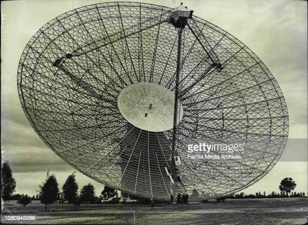 The giant 210ft diameter Radio telescope at Parkes will he the earth recovering station whilst the US astronauts are on the moon April 7 1971