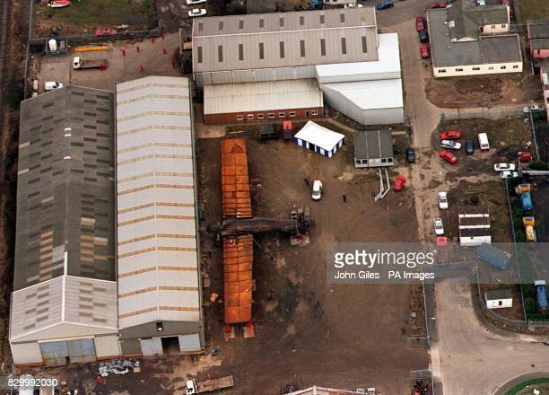 The giant Angel of the North lies in the yard at Hartlepool where it was built as construction workers assemble the parts today before dismantling...