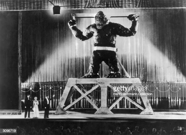 The giant ape is displayed on stage in New York by its captors in a scene from RKO's classic movie 'King Kong' directed by Merian C Cooper