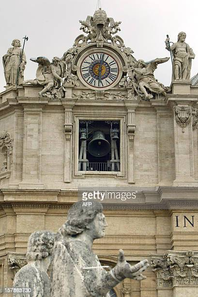 The giant bells of St Peter's Basilica ring after white smoke billowed from the chimney of the Sistine Chapel meaning that Catholic Church cardinals...