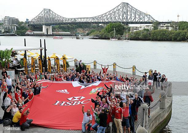 The giant British Irish Lions jersey pictured with British Irish Lions fans at Riparian Plaza on June 20 2013 in Brisbane Australia The First Test...