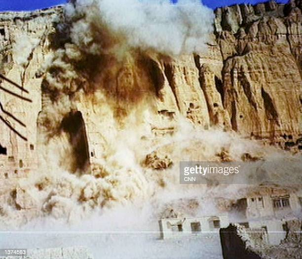 The giant Buddhas of Bamiyan are destroyed by the Taliban government on March 12 2001 in Bamiyan Afghanistan The two enormous statues measuring 175...